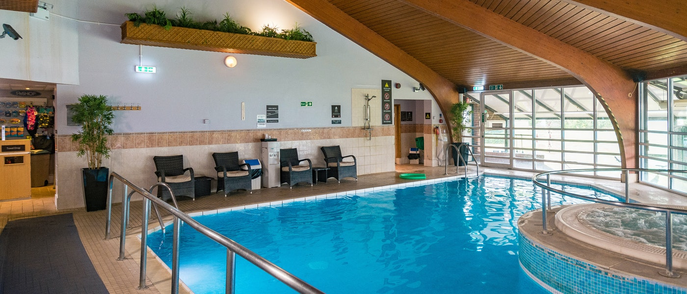 Swimming pool at Hilton Cobham near Chessington Resort.