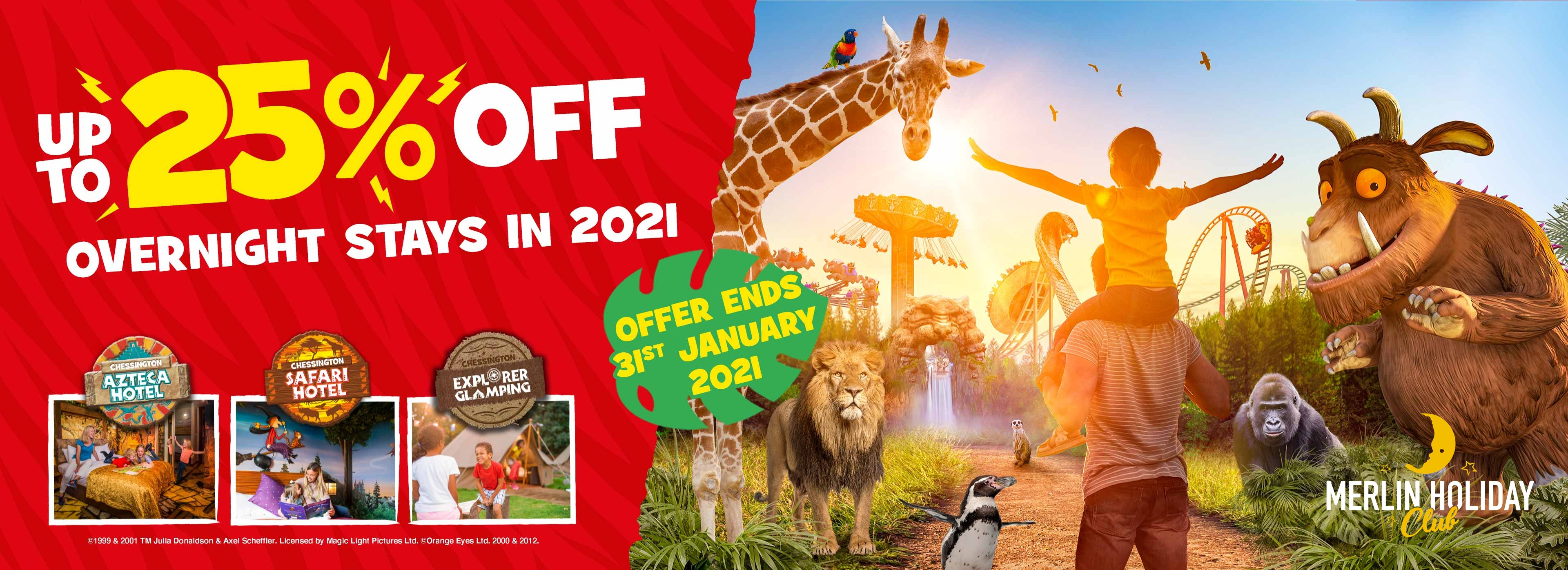 Save up to 25% on 2020 stays with your Annual Pass with Chessington Holidays.